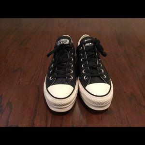 Converse black shimmer platform sneakers 8.5